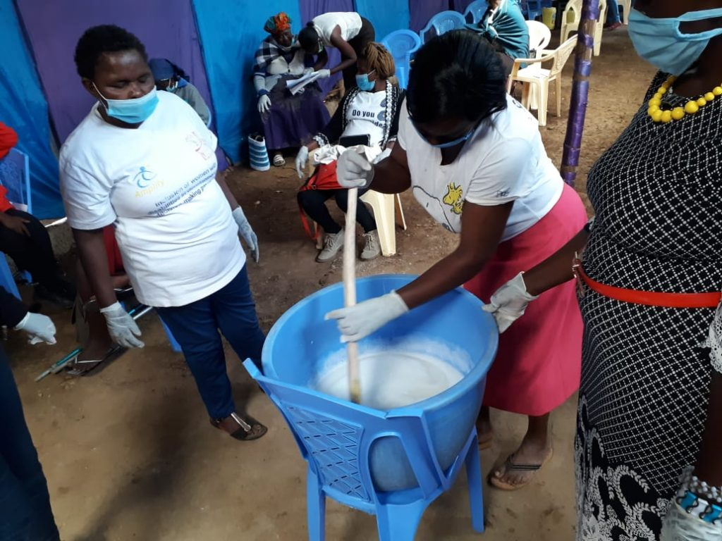 Training women with disabilities in Meru on sanitizers and hand washing